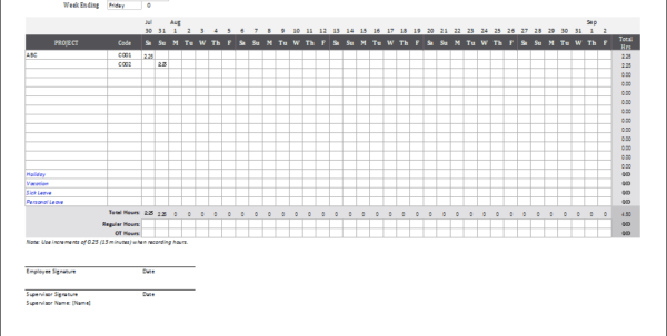 Time In Lieu Spreadsheet Pertaining To Monthly Timesheet Template For Excel