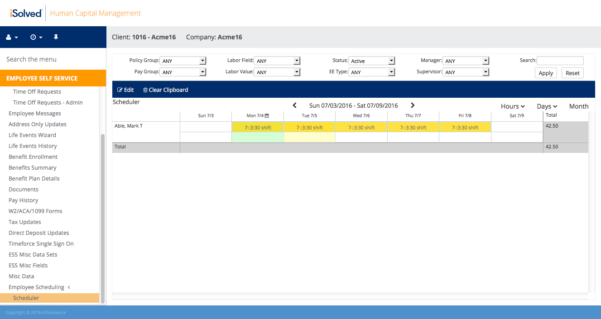 Time In Lieu Tracking Spreadsheet Pertaining To Time  Attendance Software  Isolved Hcm