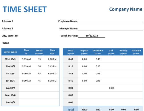 Time Log Spreadsheet In Time Sheet