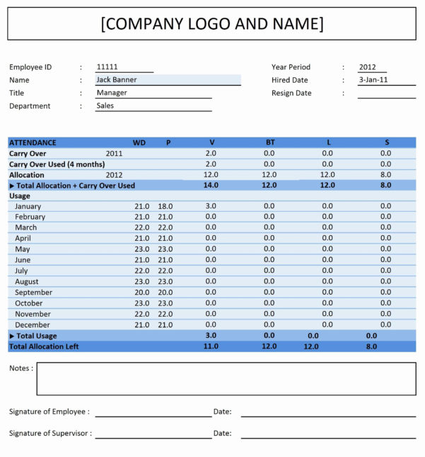 Time Off Accrual Spreadsheet Regarding Excel Pto Tracker Template My Spreadsheet Templates Example Of Time