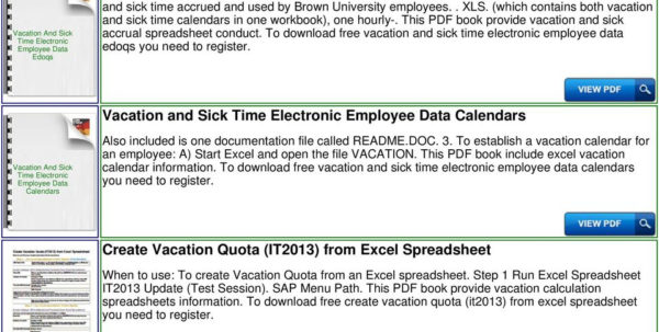 Time Off Spreadsheet Inside Vacation And Sick Accrual Tracking Spreadsheet Template  Pdf