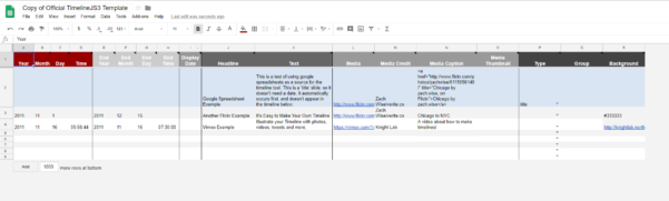 Timeline Spreadsheet With About