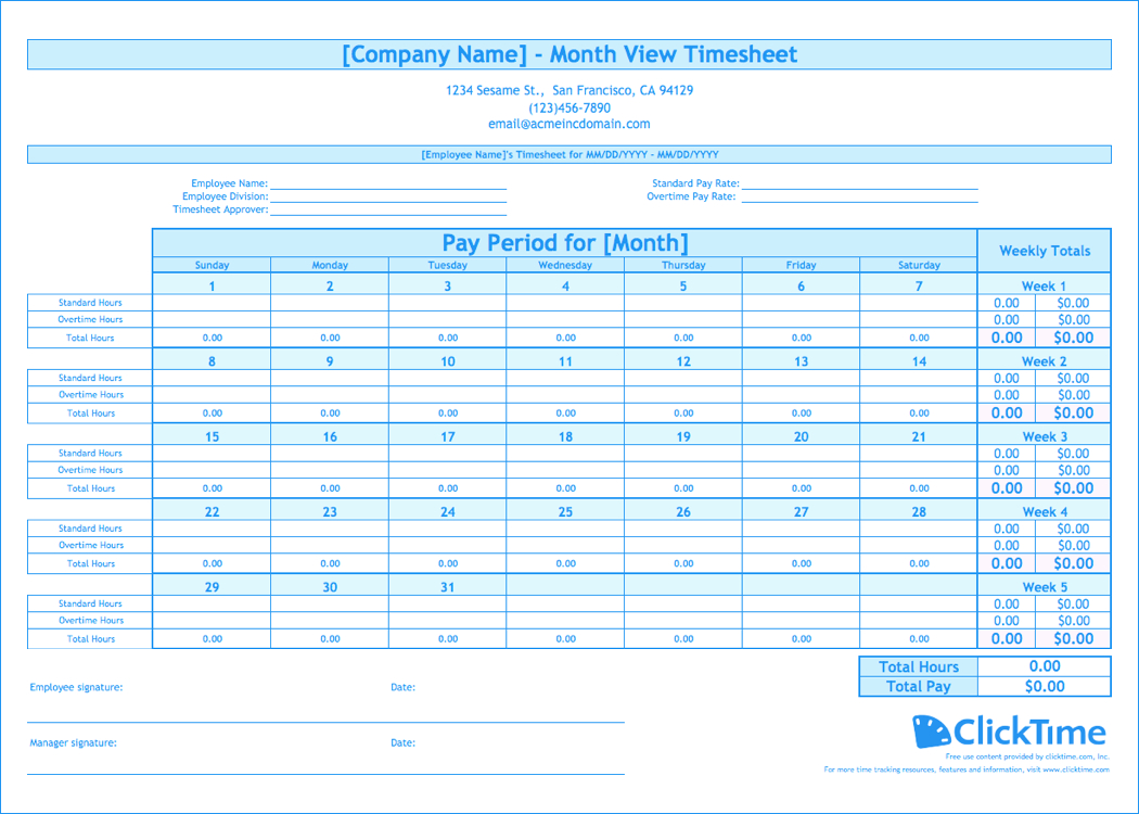 Timesheet Spreadsheet For Free Monthly Timesheet Template  Clicktime