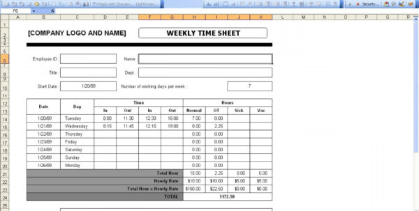 Timesheet Spreadsheet Formula Pertaining To 001 Excel Timesheet Template With Formulas Weekly Time Sheet Timesheet Spreadsheet Formula Spreadsheet Download