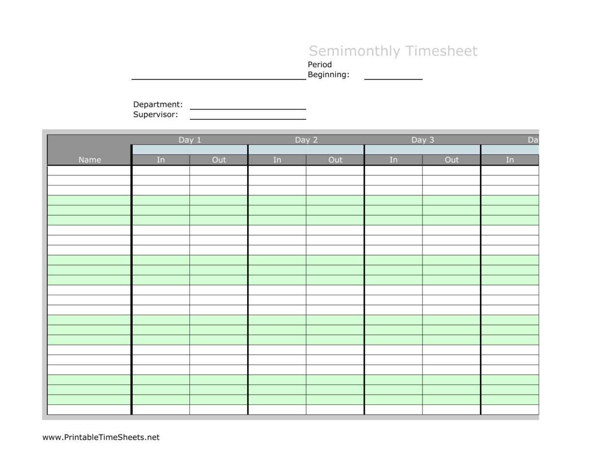 Timesheet Spreadsheet Pertaining To Download Semimonth Timesheet Template  Excel  Pdf  Rtf  Word