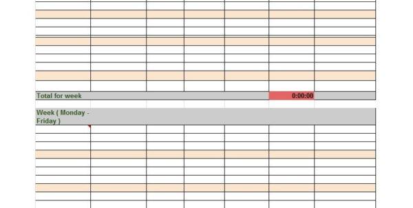 Timesheet Spreadsheet Template Excel Inside 40 Free Timesheet / Time Card Templates  Template Lab
