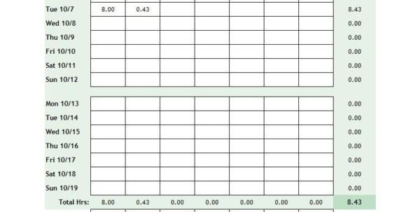 Timesheet Spreadsheet Template Excel Regarding 40 Free Timesheet / Time Card Templates  Template Lab