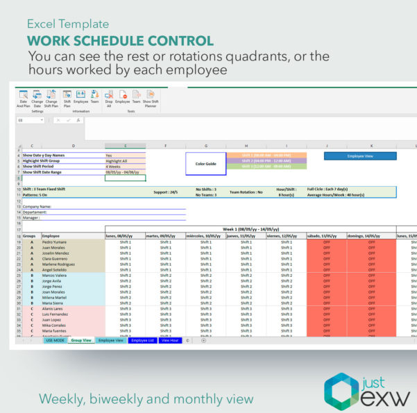 Timetable Spreadsheet In Work Schedule Control Premium Template  Timetable Template For Excel