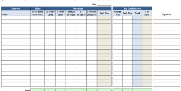 Tip Spreadsheet In Restaurant Tip Share Spreadsheet Great Wedding Budget Spreadsheet