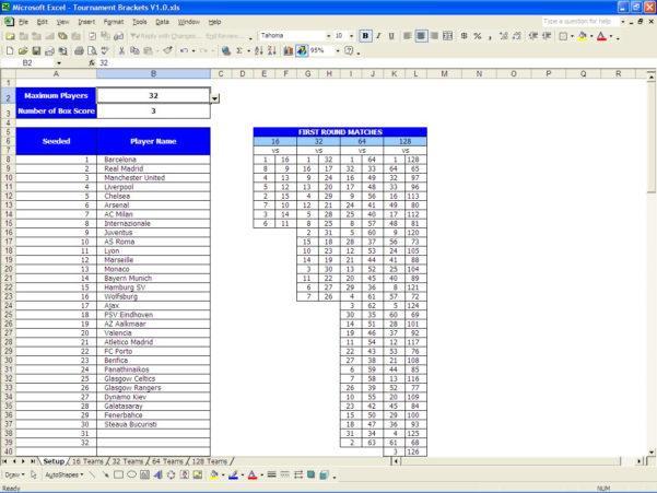 Tournament Spreadsheet Within Printable Tournament Bracket  Excel Templates