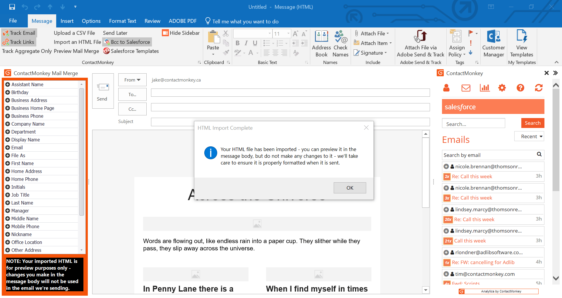 Track Outlook Com Emails In An Excel Spreadsheet Pertaining To Mail Merge For Outlook And Gmail  Send And Track Internal Emails 2018