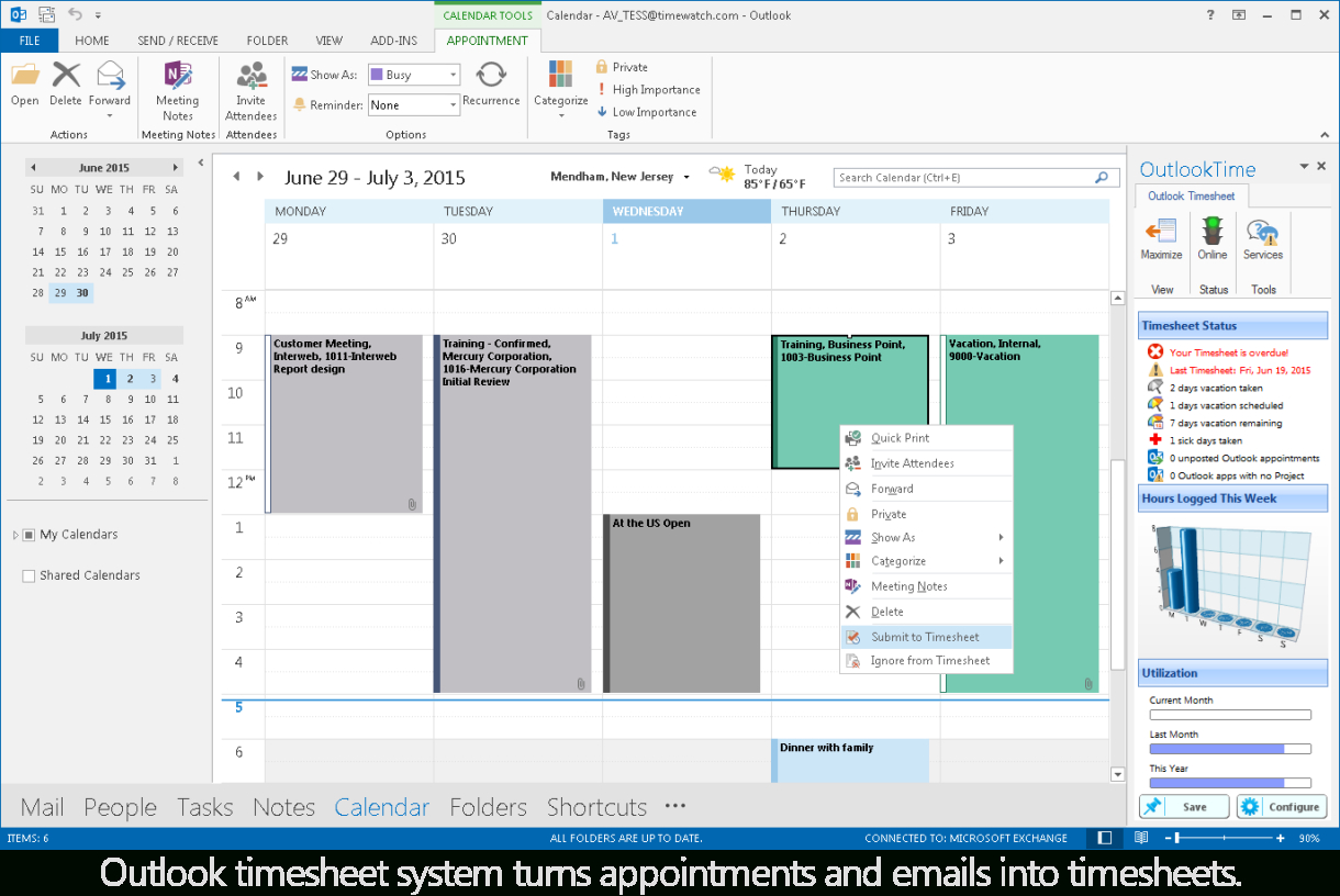 Track Outlook Com Emails In An Excel Spreadsheet Throughout Outlook Timesheet Entry System From Timewatch