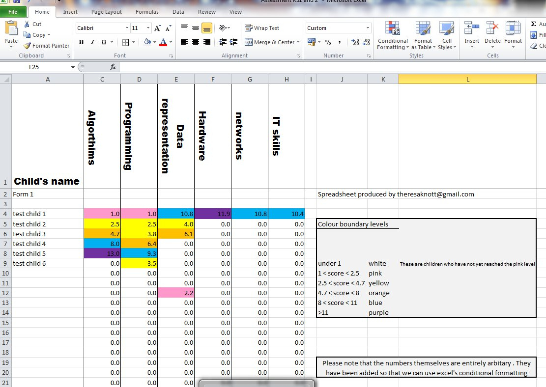 Tracking Pupil Progress Spreadsheet Throughout Assessment Spreadsheet For Ks1 And 2  Can Be Adapted For Ks3