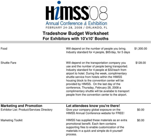 Trade Show Budget Spreadsheet For Tradeshow Budget Worksheet For Exhibitors With 10'x10' Booths  Pdf