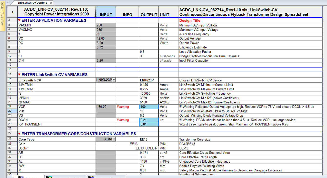 Transformer Design Spreadsheet Throughout Lnk623Dg Ic Burst Issue  Require Technical Support To Root Cause