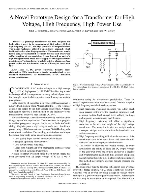 Transformer Design Spreadsheet Within Pdf A Novel Prototype Design For A Transformer For High Voltage