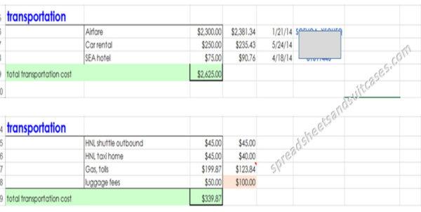 Transportation Spreadsheet For Travel Planning For Dorks Spreadsheet Tutorial Part 1