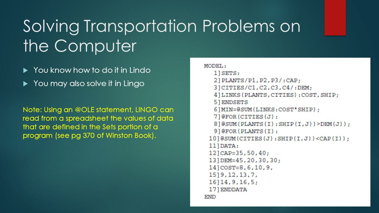 Transportation Spreadsheet Pertaining To Transportation Problem  Ppt Video Online Download