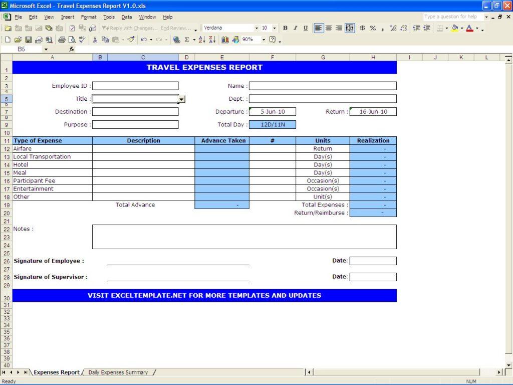 Travel Expense Spreadsheet In Travel Expense Spreadsheet  Aljererlotgd