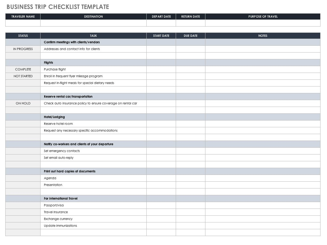 Travel Itinerary Spreadsheet Within Free Itinerary Templates  Smartsheet