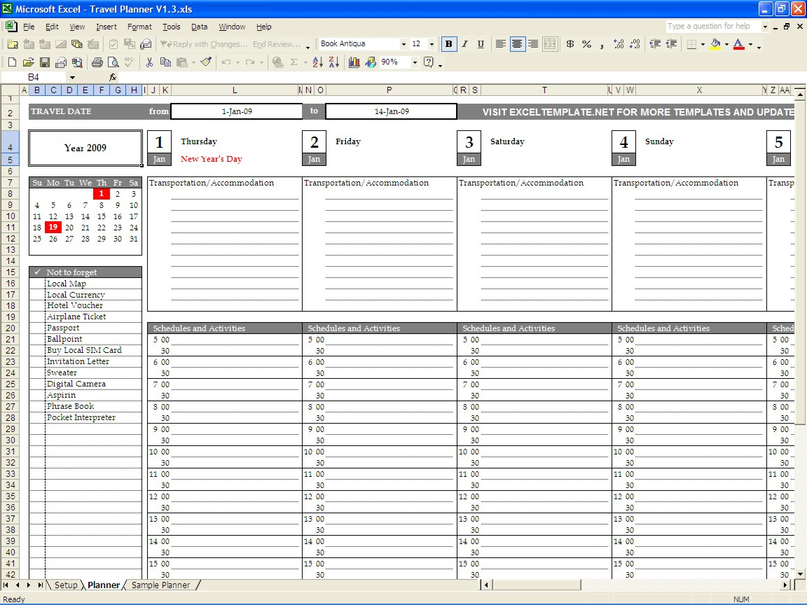 Travel Planner Excel Spreadsheet In Travel Planner  Excel Templates