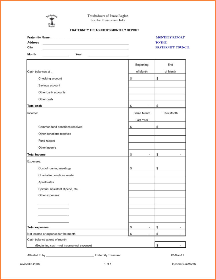 Treasurer's Report Excel Spreadsheet With Regard To Treasurers Report Templateasurer Essential Print S Maggi