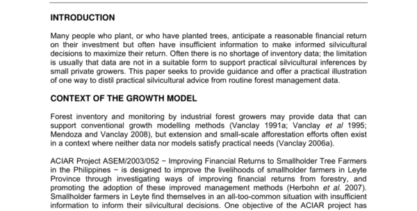 Tree Inventory Spreadsheet Pertaining To Pdf Data Requirements For Developing Growth Models For Tropical