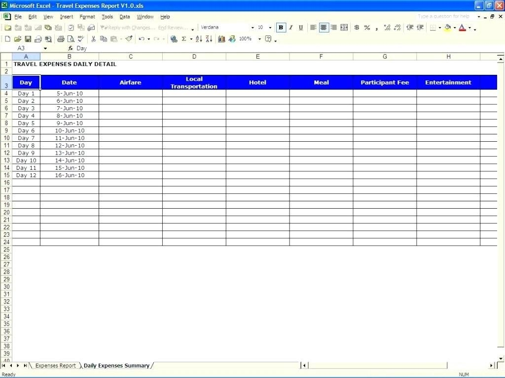 Trip Expenses Spreadsheet Within Expense Report Spreadsheet Template Free Download Templates Travel