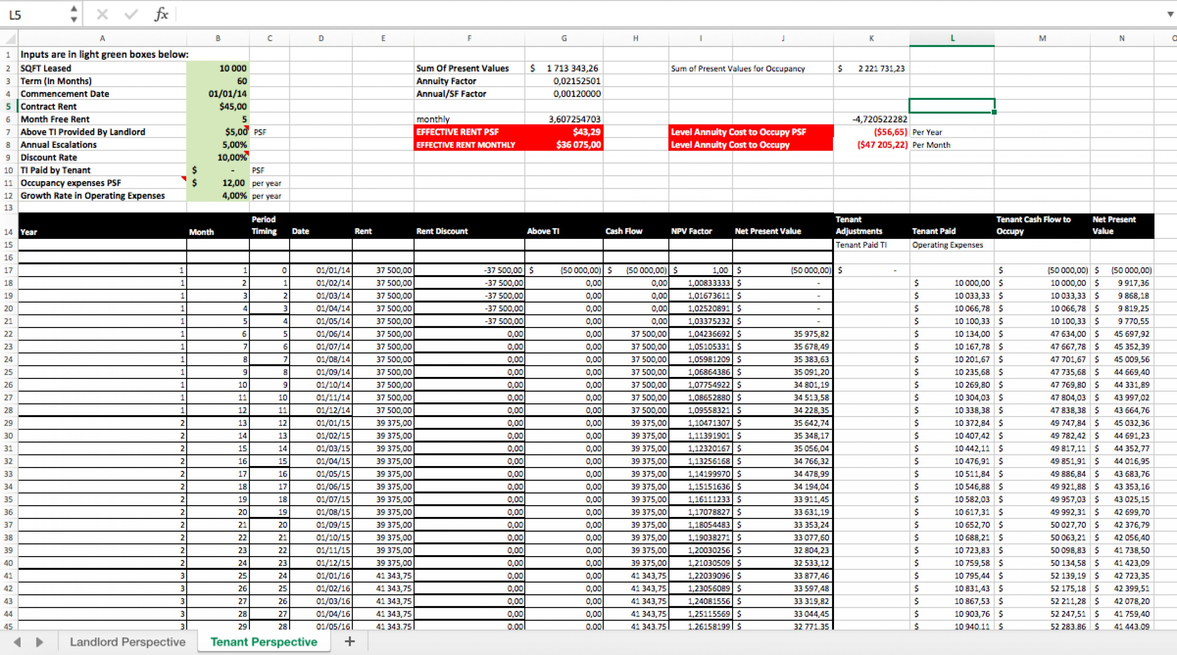 Triple Net Lease Spreadsheet For Calculate Effective Rent Excel Spreadsheet  Eloquens