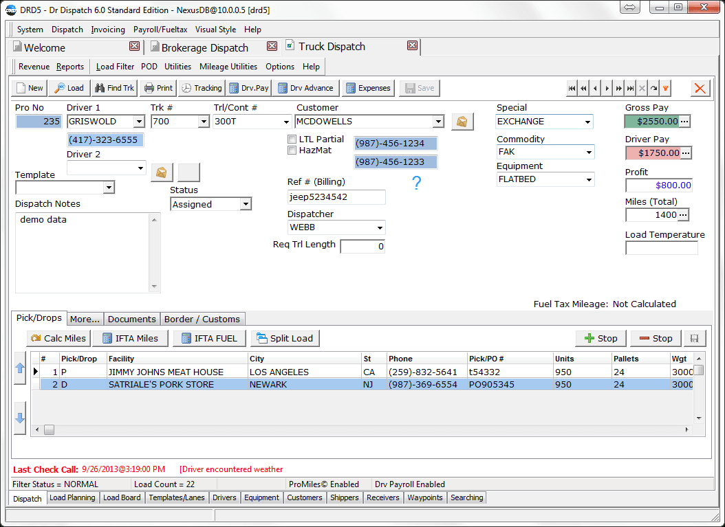 Truck Dispatch Spreadsheet In Dr Dispatch Software  Easy To Use Software For Trucking And Brokerage