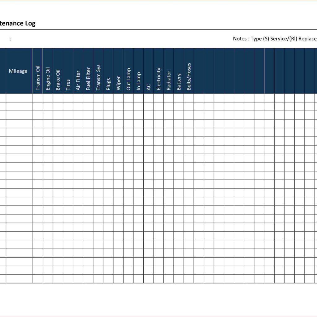 Truck Fleet Maintenance Spreadsheet Throughout Fleet Vehicle Maintenance Log Template  Spreadsheets Inside Truck