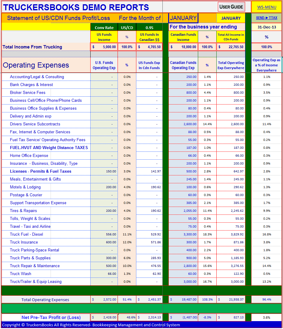 Trucking Accounting Spreadsheet With Trucking Spreadsheet Download  Homebiz4U2Profit