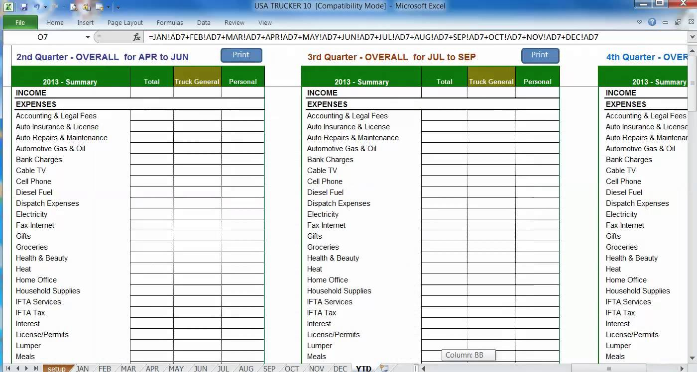 Trucking Business Expenses Spreadsheet Pertaining To Trucker Expense Spreadsheet Trucking Company Business Expenses