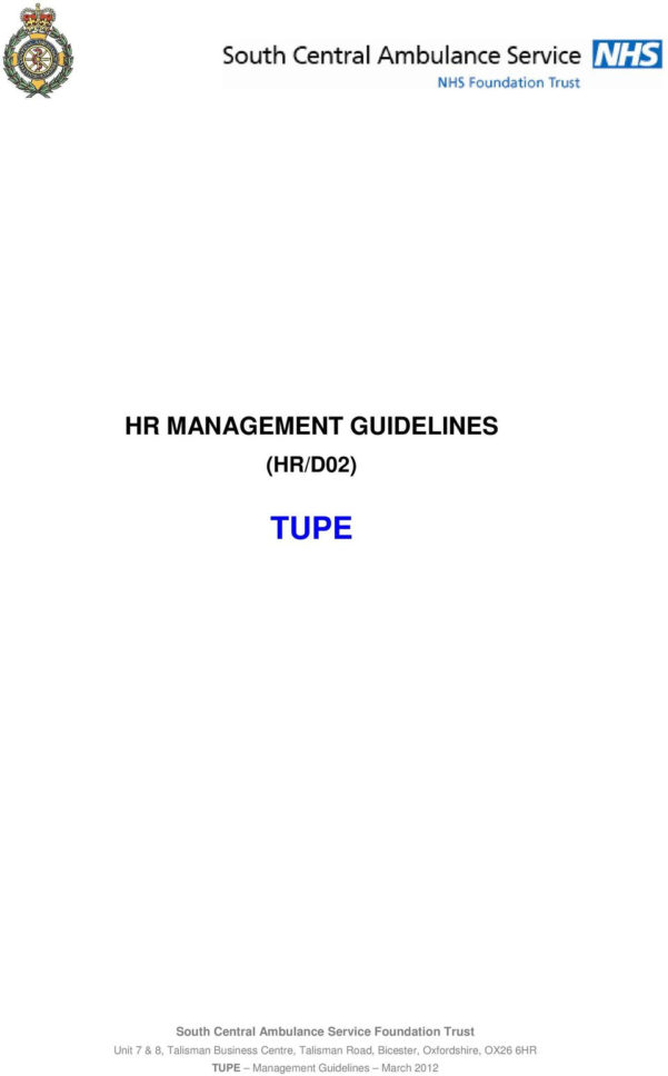 Tupe Due Diligence Spreadsheet In Hr Management Guidelines Hr/d02 Tupe  Pdf