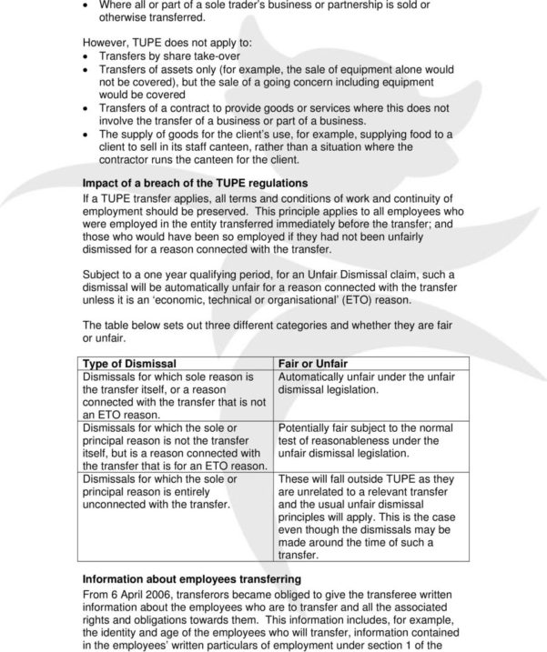 Tupe Due Diligence Spreadsheet Intended For Transfer Of Undertakings Tupe  Pdf