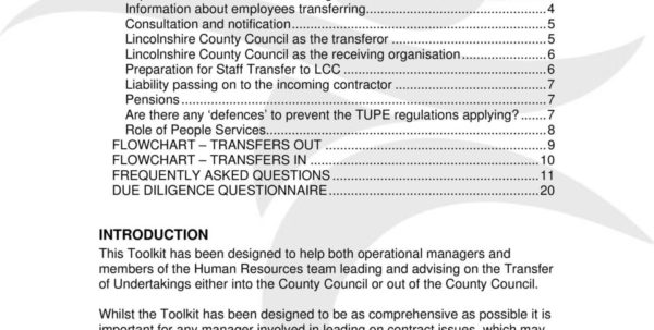 Tupe Due Diligence Spreadsheet Throughout Transfer Of Undertakings Tupe  Pdf