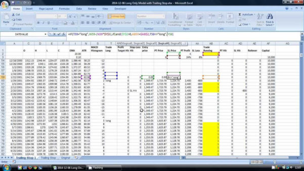 Turtle Trading System Excel Spreadsheet Intended For How To Calculate A Trailing Stoploss Using Excel  Tradinformed