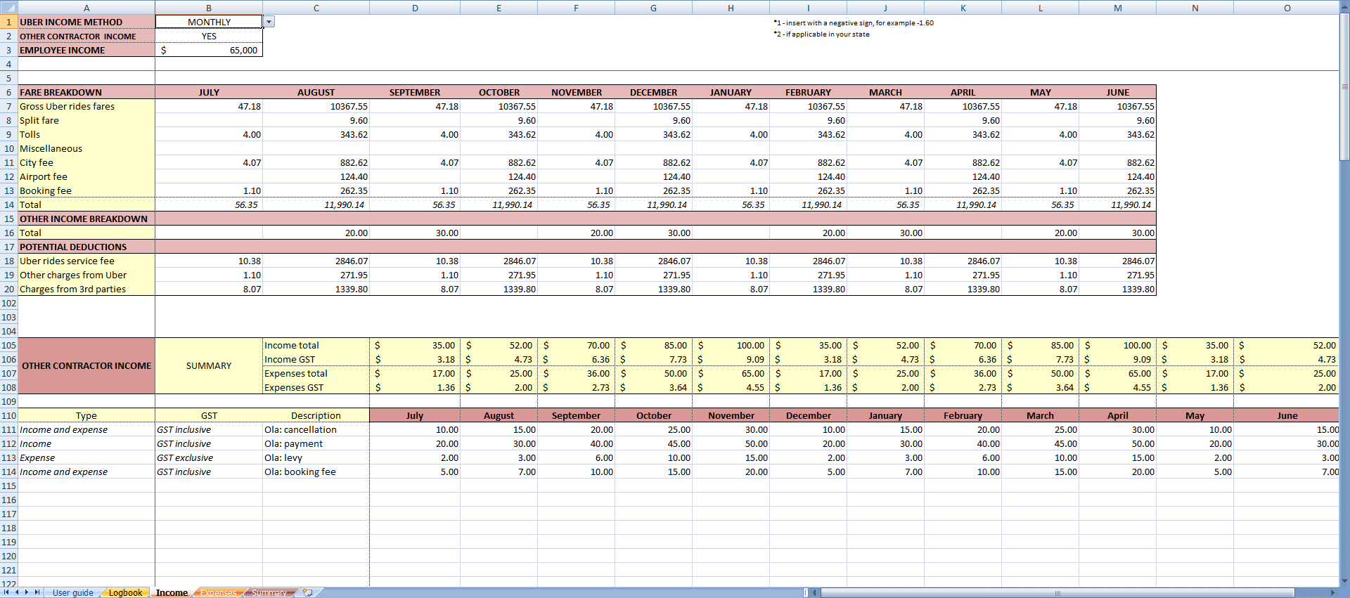 Uber Accounting Spreadsheet For My Uber Income  Income App For Uber Drivers In Australia