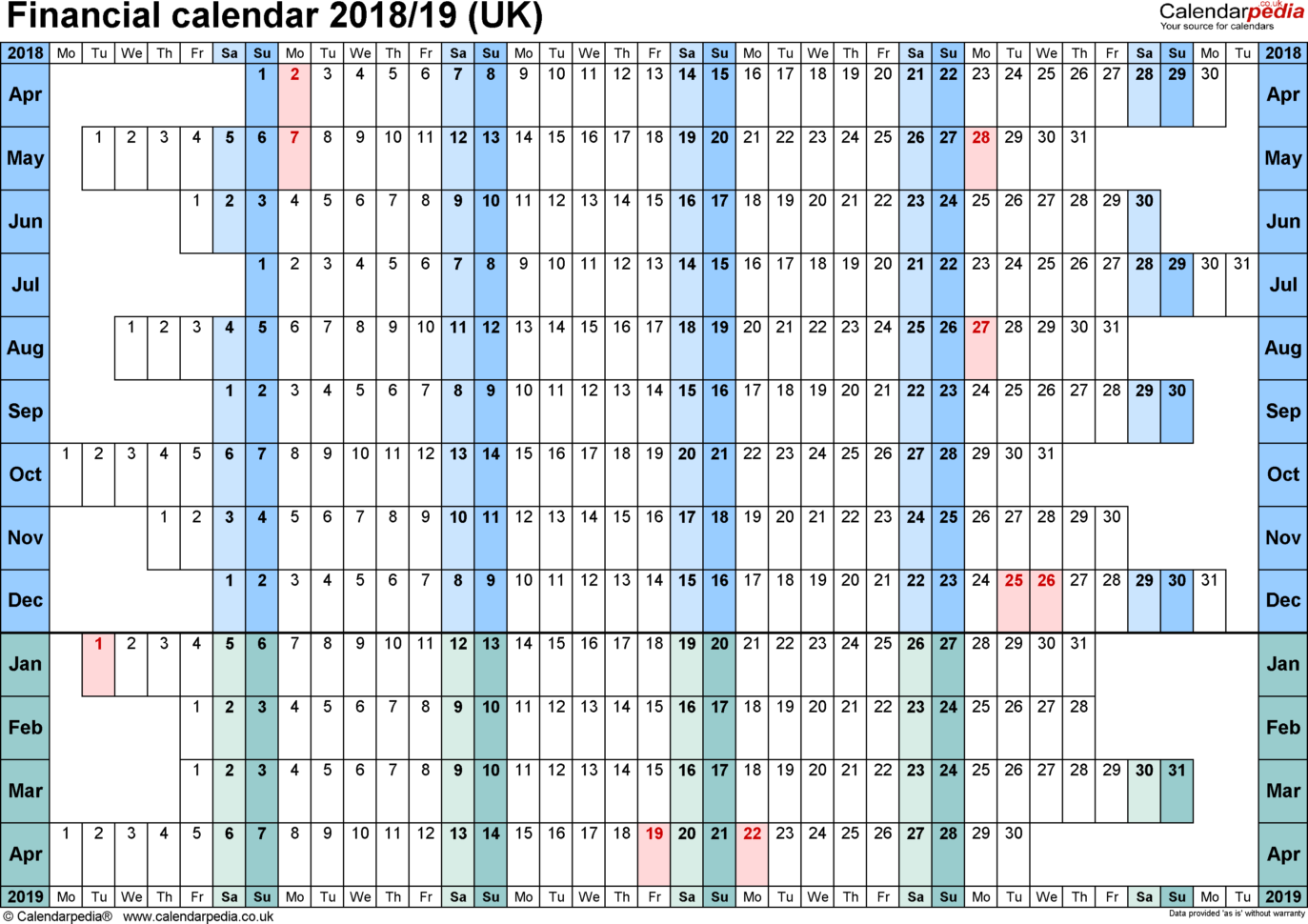 Uk Tax Calculator Excel Spreadsheet 2018 In Financial Calendars 2018/19 Uk In Microsoft Excel Format