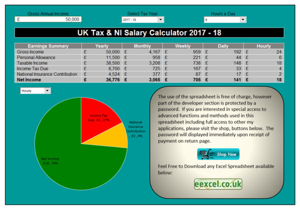 Uk Tax Calculator Excel Spreadsheet 2018 Throughout Uk Salary Calculator Template Spreadsheet  Eexcel Ltd