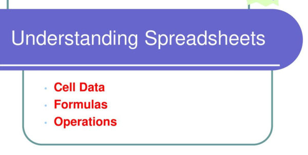 Understanding Spreadsheets In Understanding Spreadsheets  Ppt Download