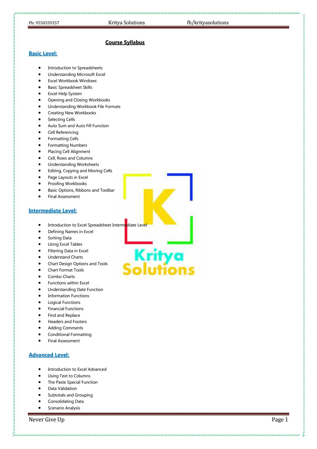 Understanding Spreadsheets Within Advanced Excelkritya Solutions  Issuu