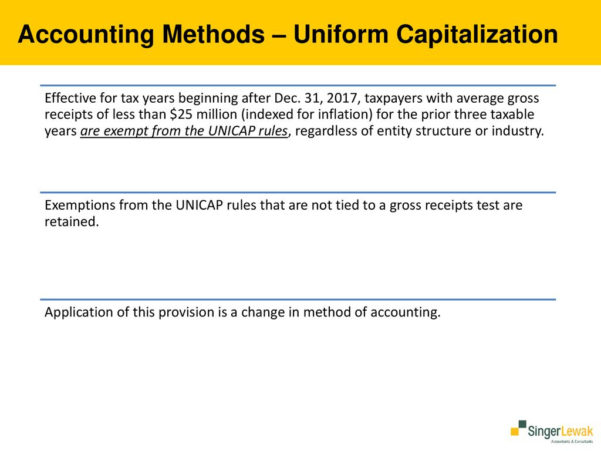 Unicap Calculation Spreadsheet With Regard To 2017 Tax Cuts And Jobs Act.  Ppt Download