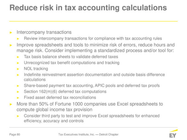 Unicap Calculation Spreadsheet Within Tax Executives Institute, Inc. — Detroit Chapter  Ppt Download
