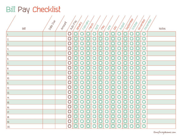 Utility Bill Tracking Spreadsheet Pertaining To Free Printable Bill Pay Calendar Templates