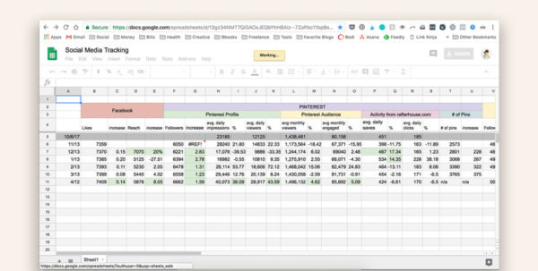 Utility Tracker Spreadsheet Regarding Social Media Analytics Tracking Spreadsheet  According To Bbooks