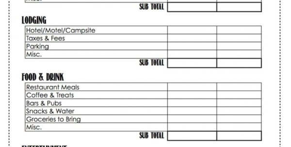 Vacation Expense Spreadsheet Template In Budget Worksheet Examples Excel Printable Vacation Example Of