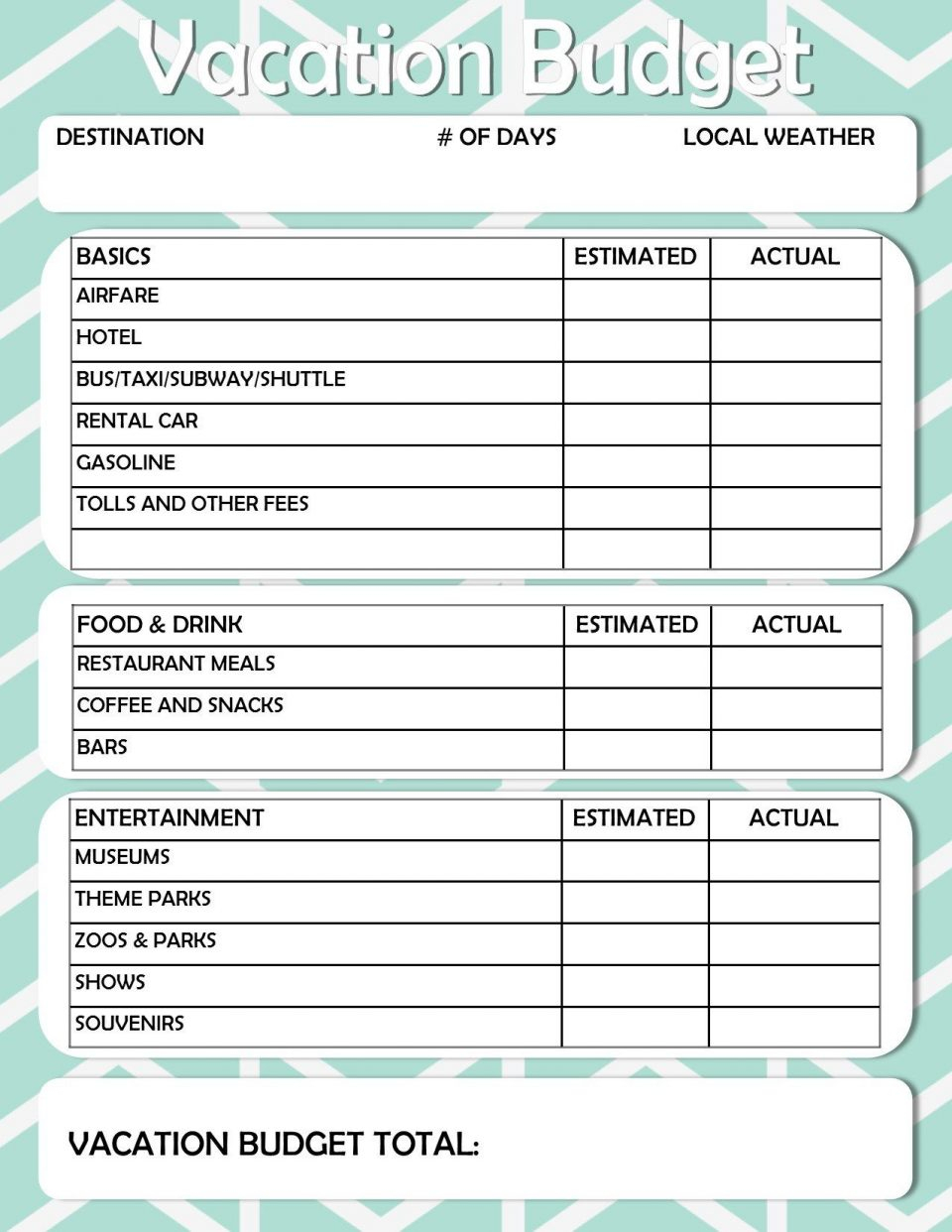 Vacation Expense Spreadsheet Template With Vacation Budget Worksheet Spreadsheet Example Of Holiday Worksheets