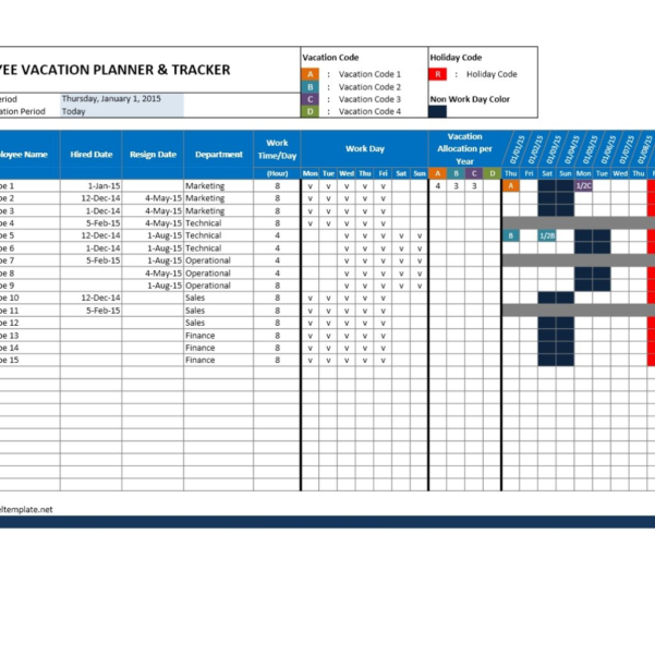 Vacation Schedule Spreadsheet Intended For Employee Attendance Calendar And Vacation Planner Spreadsheets With