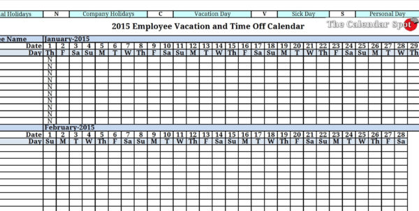 Vacation Schedule Spreadsheet Regarding Employee Vacation Template  Kasare.annafora.co